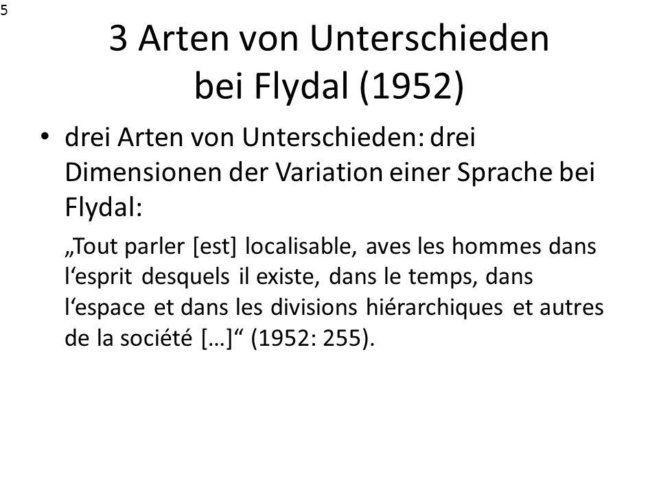 3 Arten von Unterschieden bei Flydal (1952)