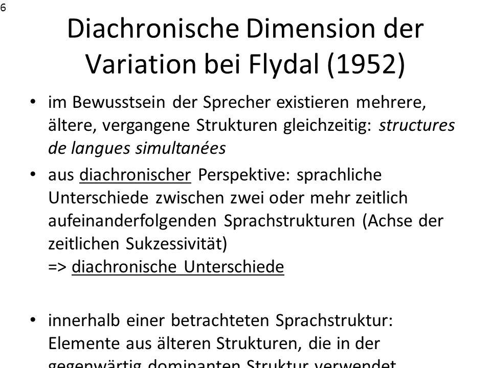 Diachronische Dimension der Variation bei Flydal (1952)