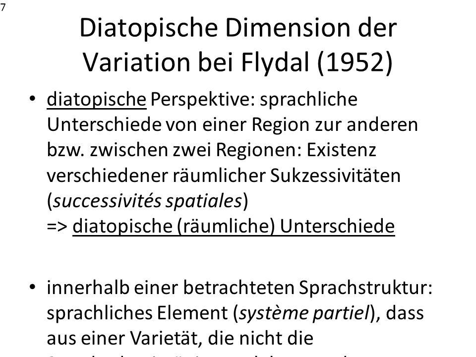 Diatopische Dimension der Variation bei Flydal (1952)
