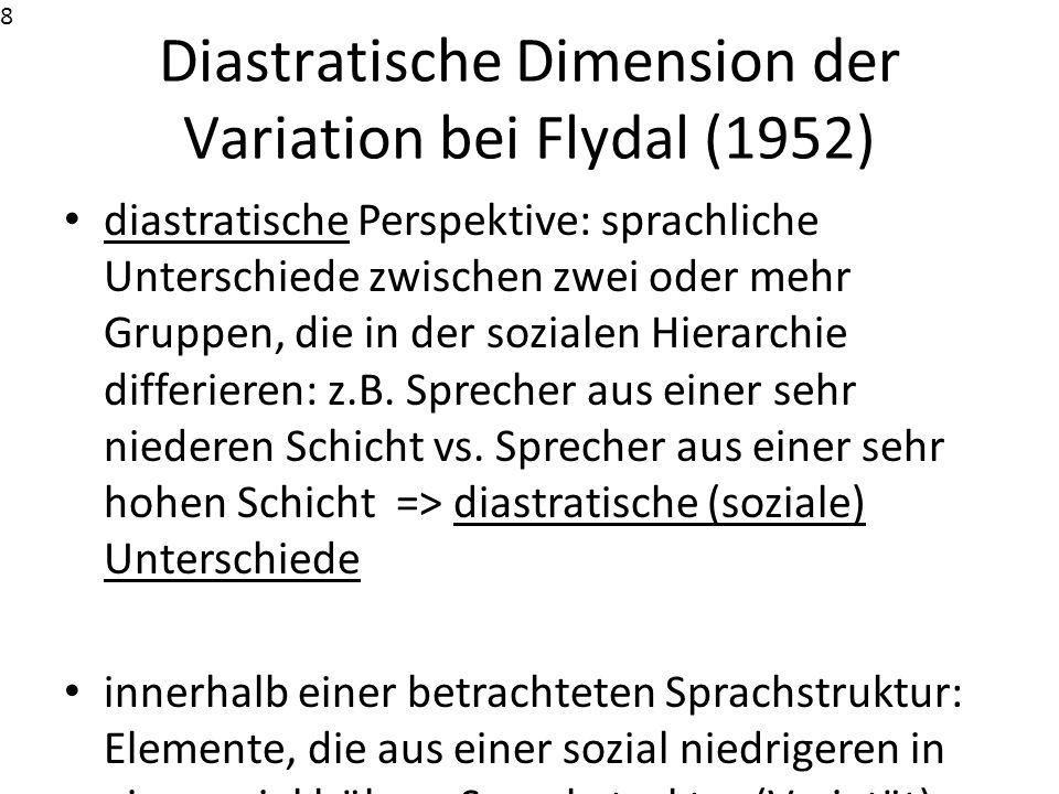 Diastratische Dimension der Variation bei Flydal (1952)