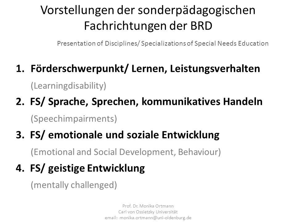 Vorstellungen der sonderpädagogischen Fachrichtungen der BRD