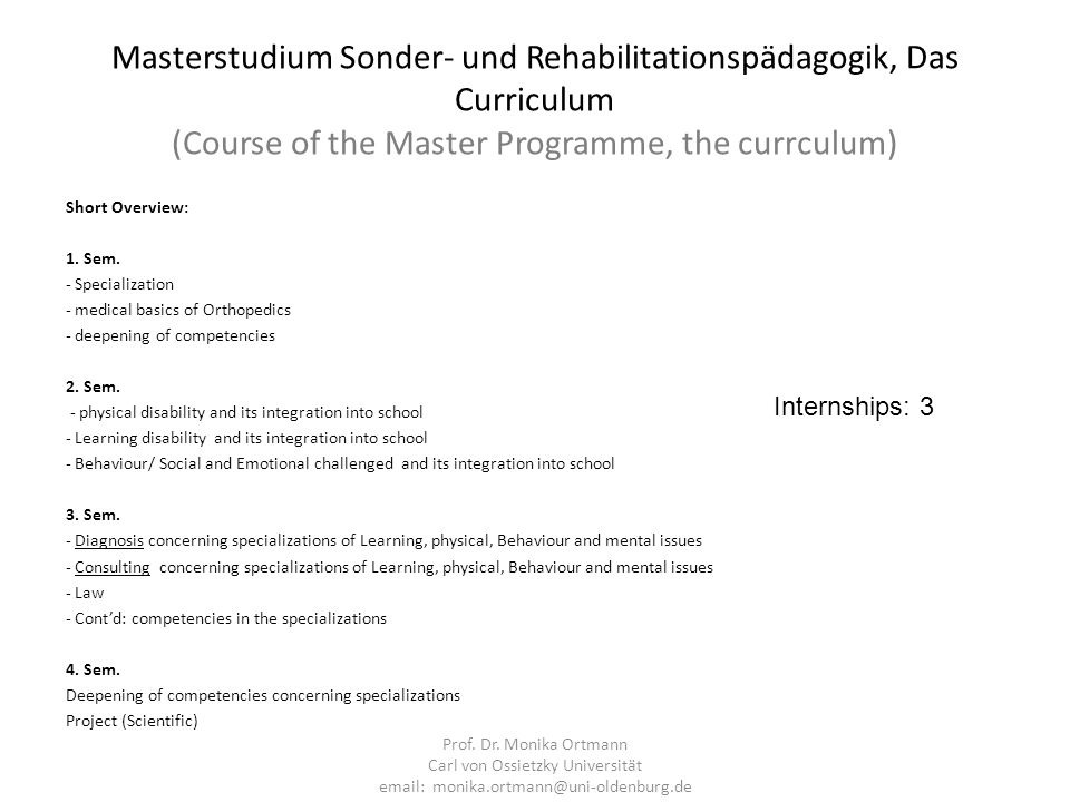 Masterstudium Sonder- und Rehabilitationspädagogik, Das Curriculum (Course of the Master Programme, the currculum)