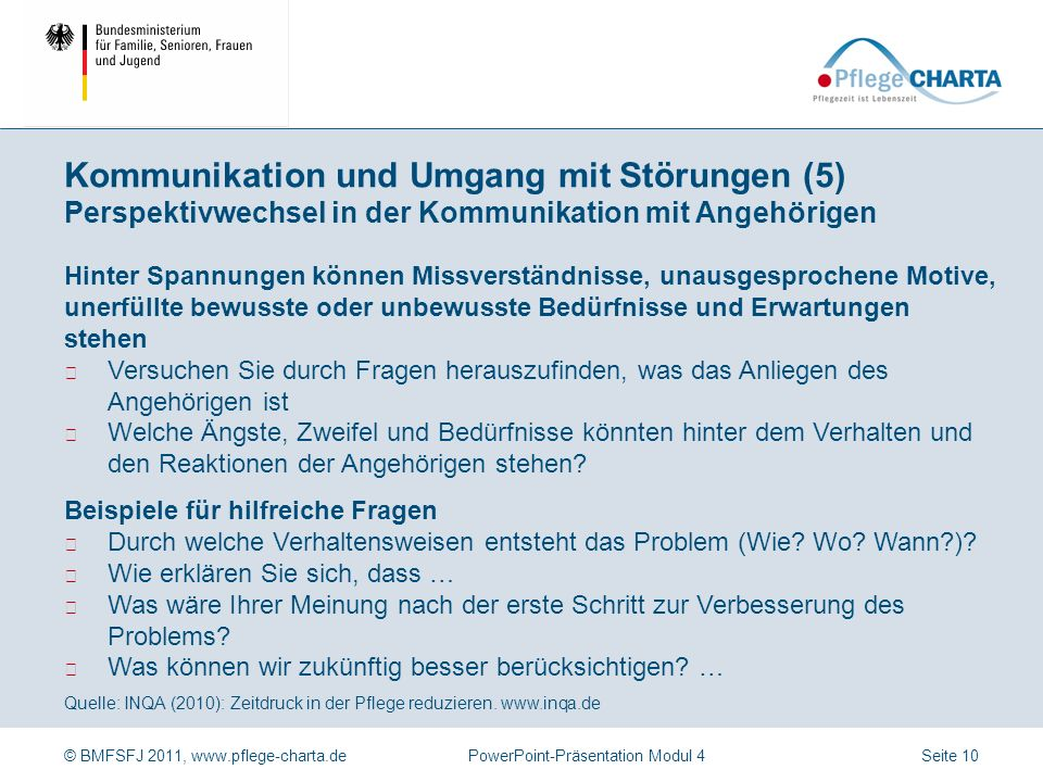 Kommunikation und Umgang mit Störungen (5) Perspektivwechsel in der Kommunikation mit Angehörigen