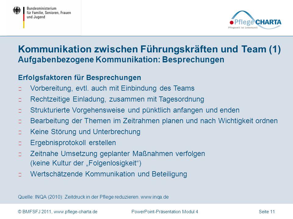 Kommunikation zwischen Führungskräften und Team (1) Aufgabenbezogene Kommunikation: Besprechungen