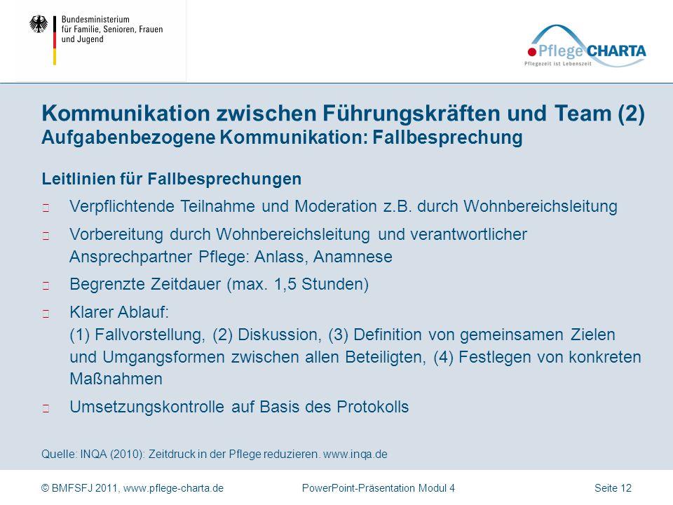 Kommunikation zwischen Führungskräften und Team (2) Aufgabenbezogene Kommunikation: Fallbesprechung