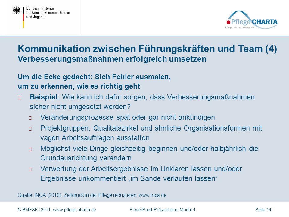 Kommunikation zwischen Führungskräften und Team (4) Verbesserungsmaßnahmen erfolgreich umsetzen