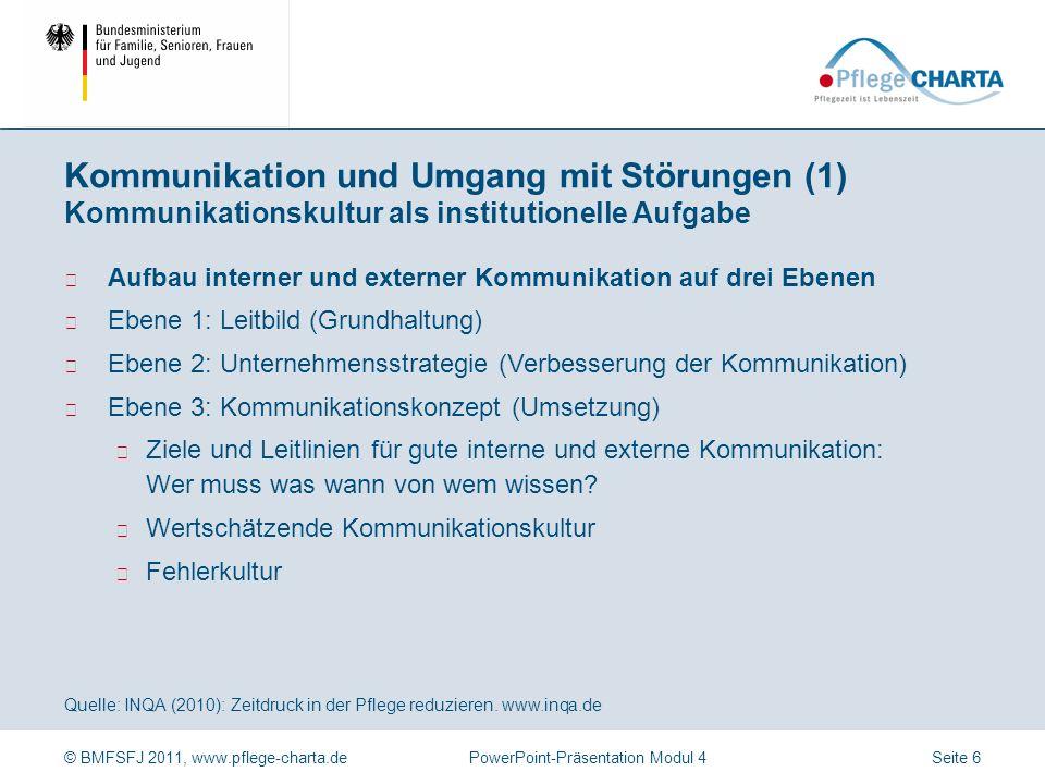 Kommunikation und Umgang mit Störungen (1) Kommunikationskultur als institutionelle Aufgabe