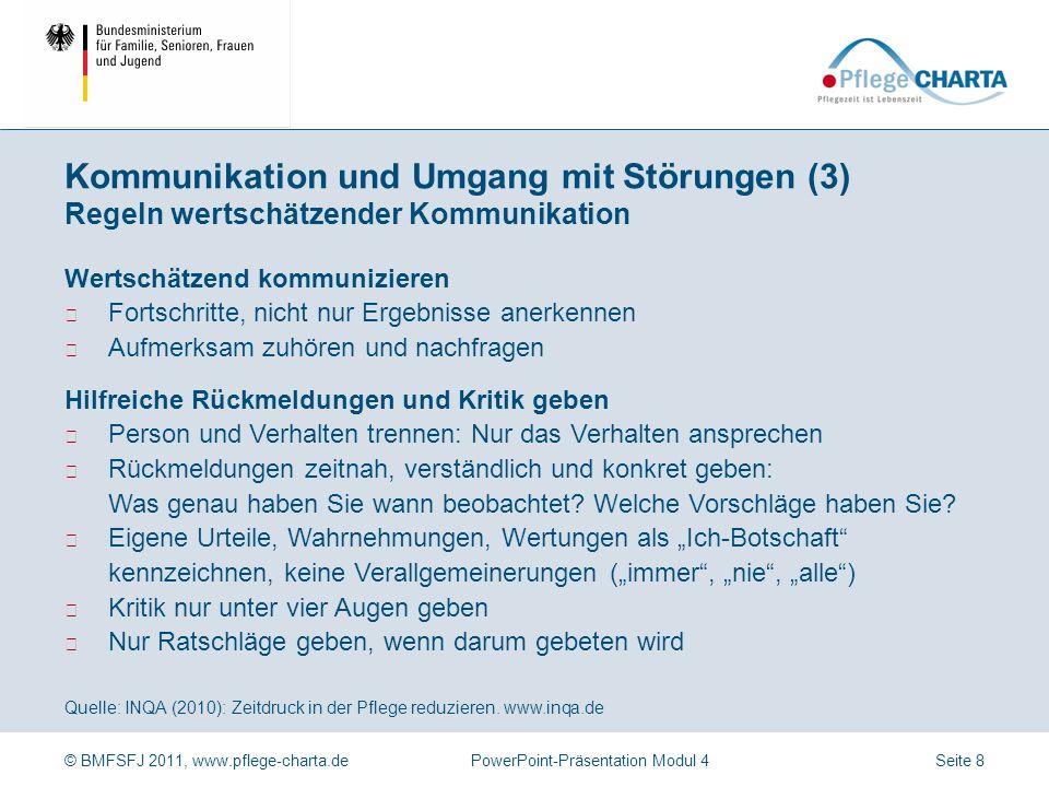 Kommunikation und Umgang mit Störungen (3) Regeln wertschätzender Kommunikation