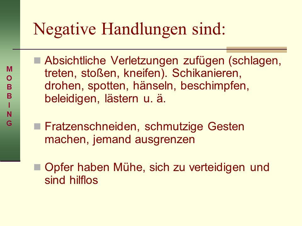 Negative Handlungen sind: