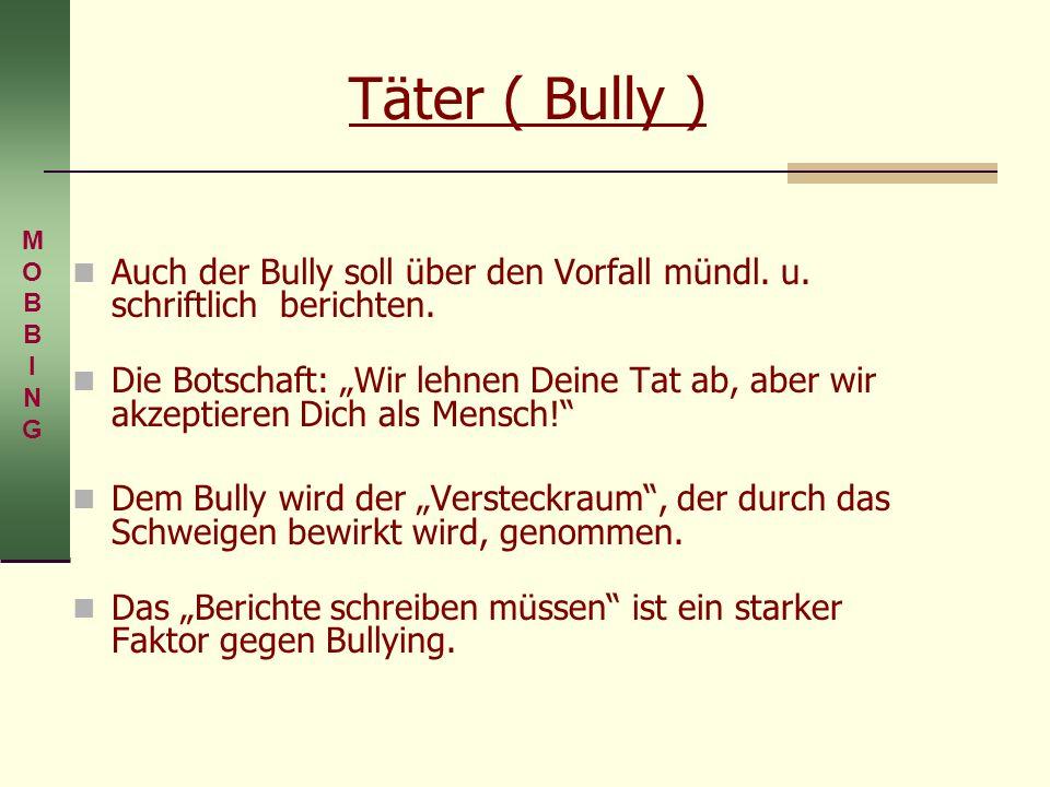 Auch der Bully soll über den Vorfall mündl. u. schriftlich berichten.