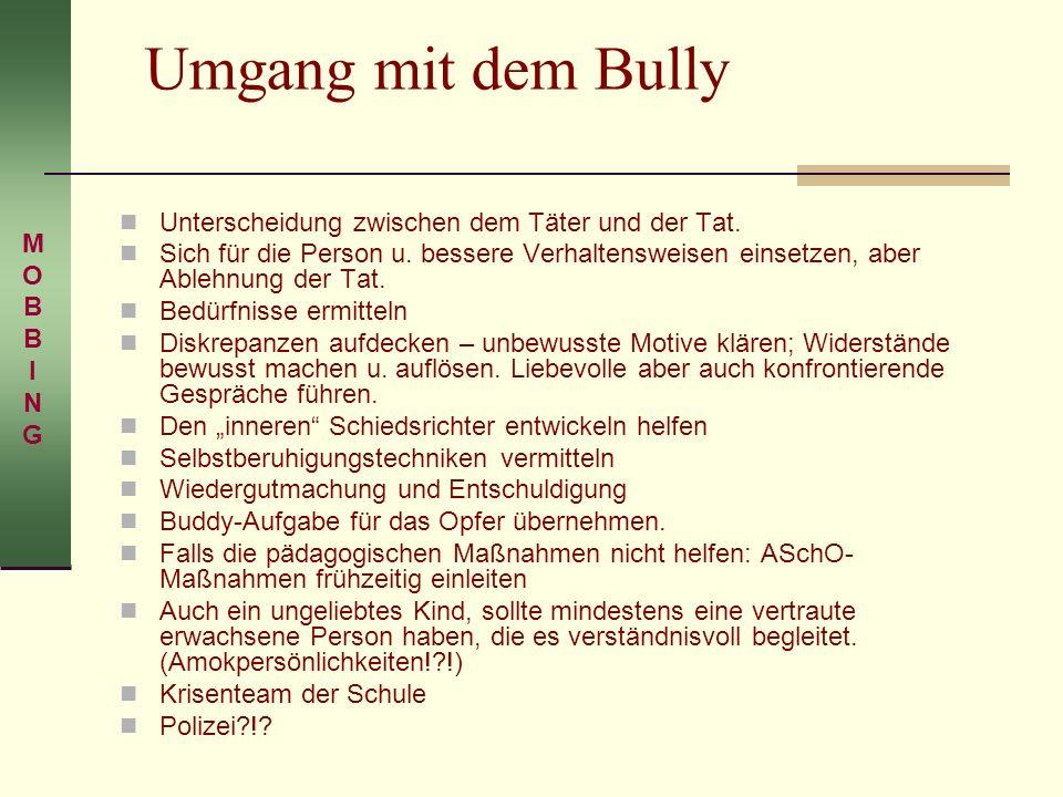 Umgang mit dem Bully Unterscheidung zwischen dem Täter und der Tat.