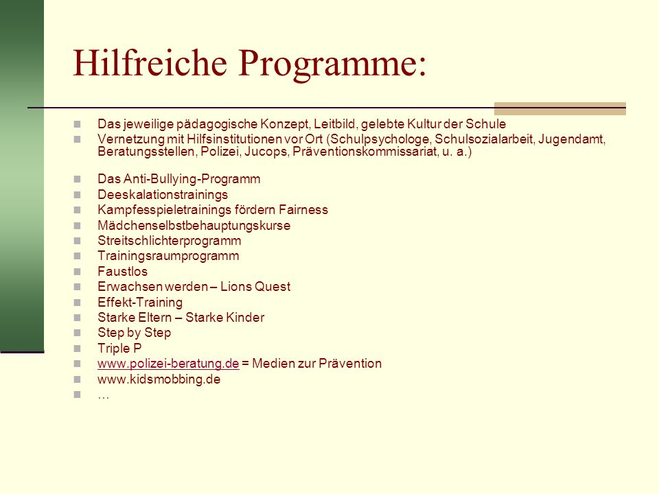 Hilfreiche Programme: