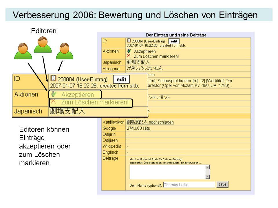 Verbesserung 2006: Bewertung und Löschen von Einträgen