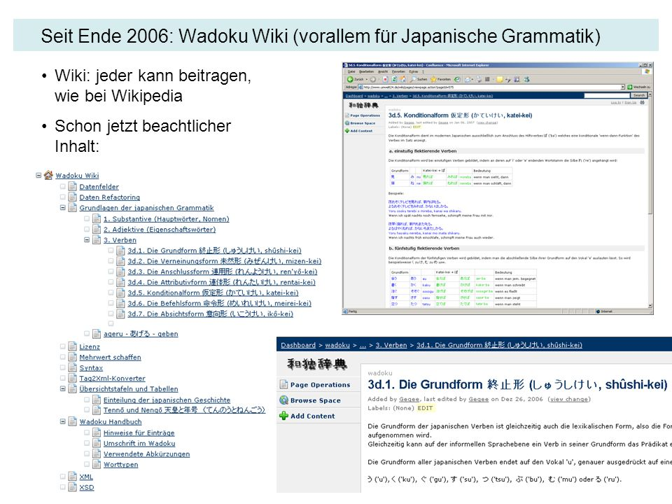 Seit Ende 2006: Wadoku Wiki (vorallem für Japanische Grammatik)