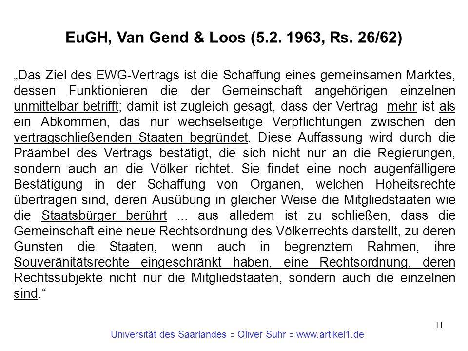 EuGH, Van Gend & Loos (5.2. 1963, Rs. 26/62)