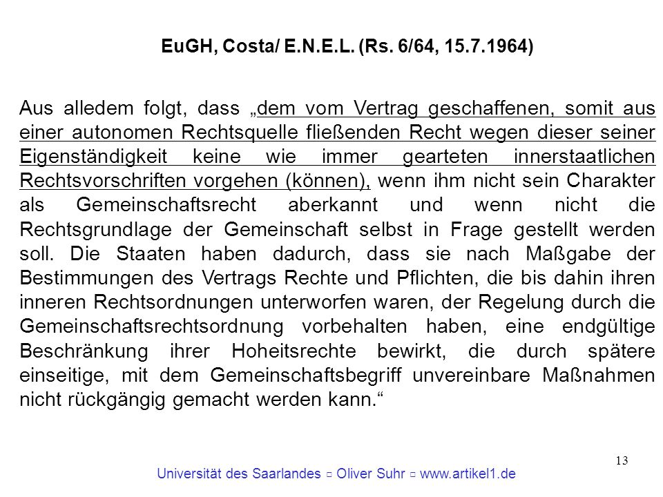 EuGH, Costa/ E.N.E.L. (Rs. 6/64, 15.7.1964)‏