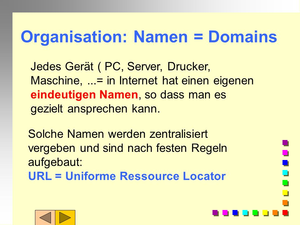 Organisation: Namen = Domains