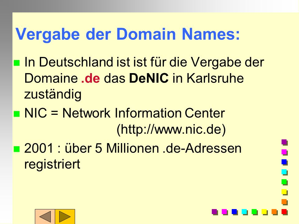 Vergabe der Domain Names: