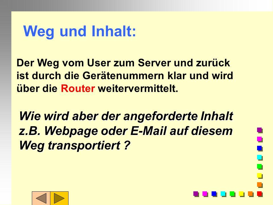 Weg und Inhalt: Der Weg vom User zum Server und zurück ist durch die Gerätenummern klar und wird über die Router weitervermittelt.