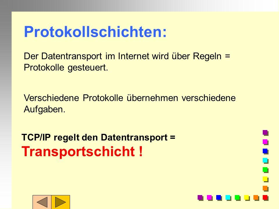 Protokollschichten:Der Datentransport im Internet wird über Regeln = Protokolle gesteuert. Verschiedene Protokolle übernehmen verschiedene Aufgaben.