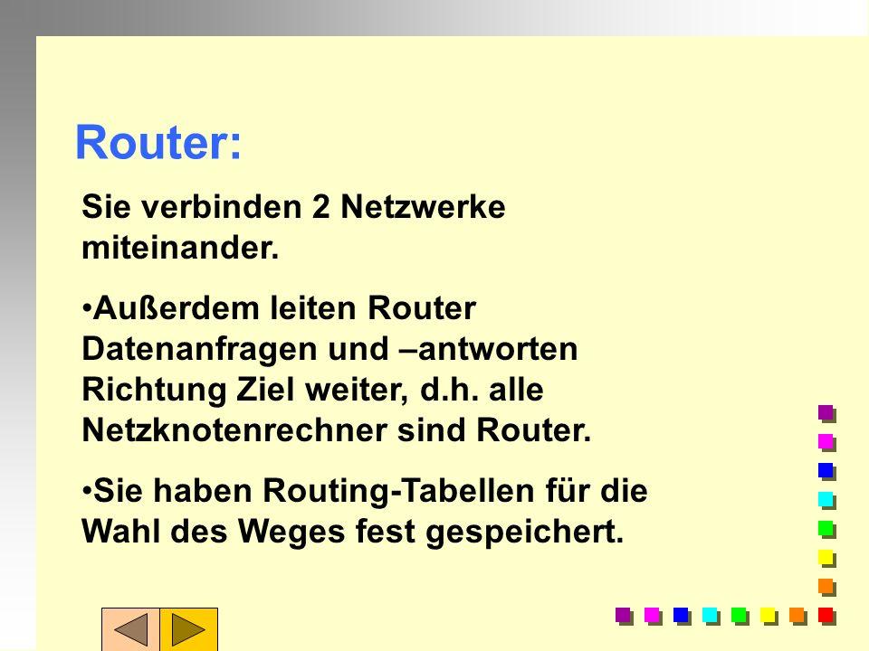 Router: Sie verbinden 2 Netzwerke miteinander.