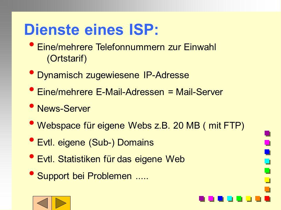Dienste eines ISP: Eine/mehrere Telefonnummern zur Einwahl (Ortstarif)