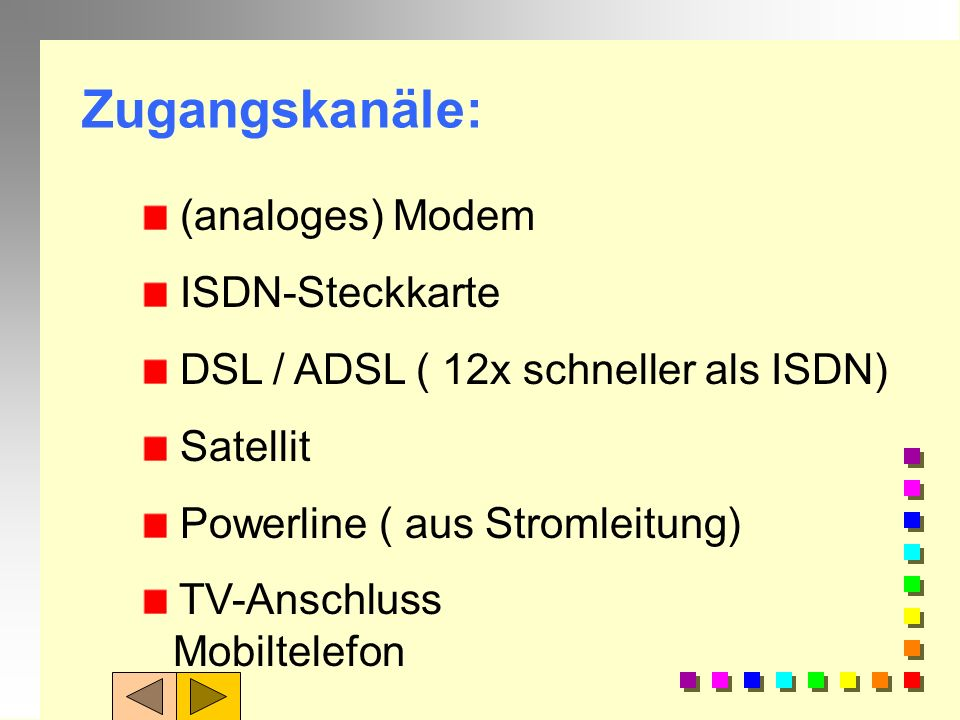 Zugangskanäle: (analoges) Modem ISDN-Steckkarte