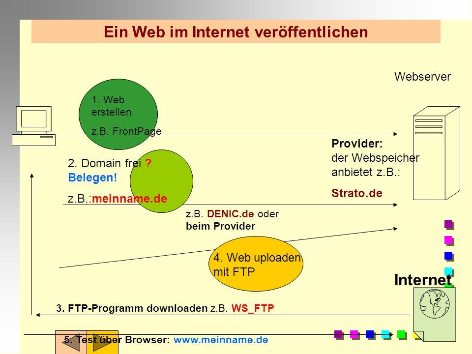 Ein Web im Internet veröffentlichen