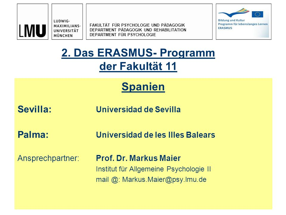2. Das ERASMUS- Programm der Fakultät 11 Spanien