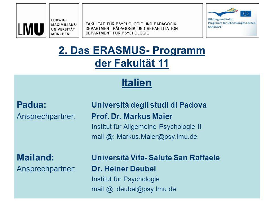 2. Das ERASMUS- Programm der Fakultät 11 Italien