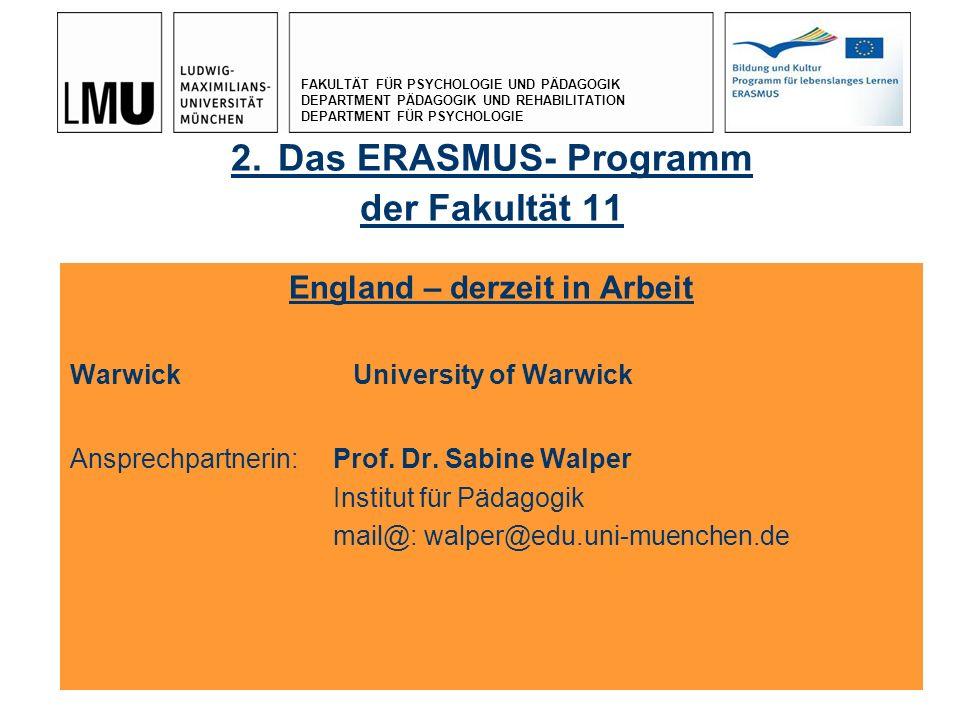 2. Das ERASMUS- Programm der Fakultät 11