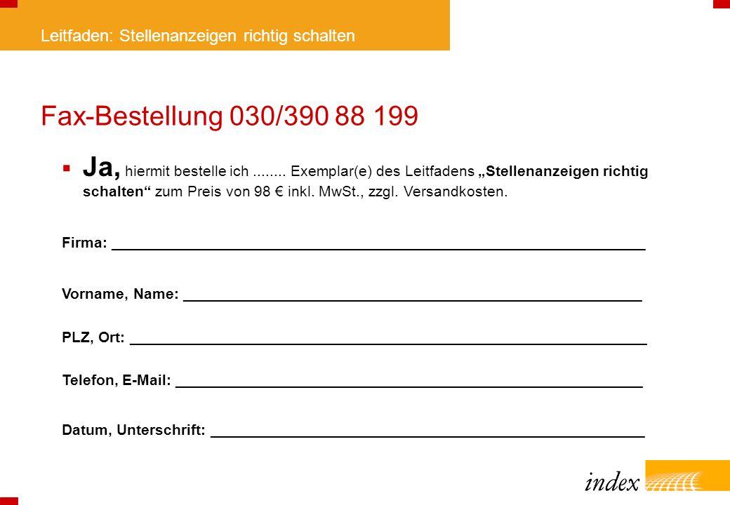 Fax-Bestellung 030/390 88 199