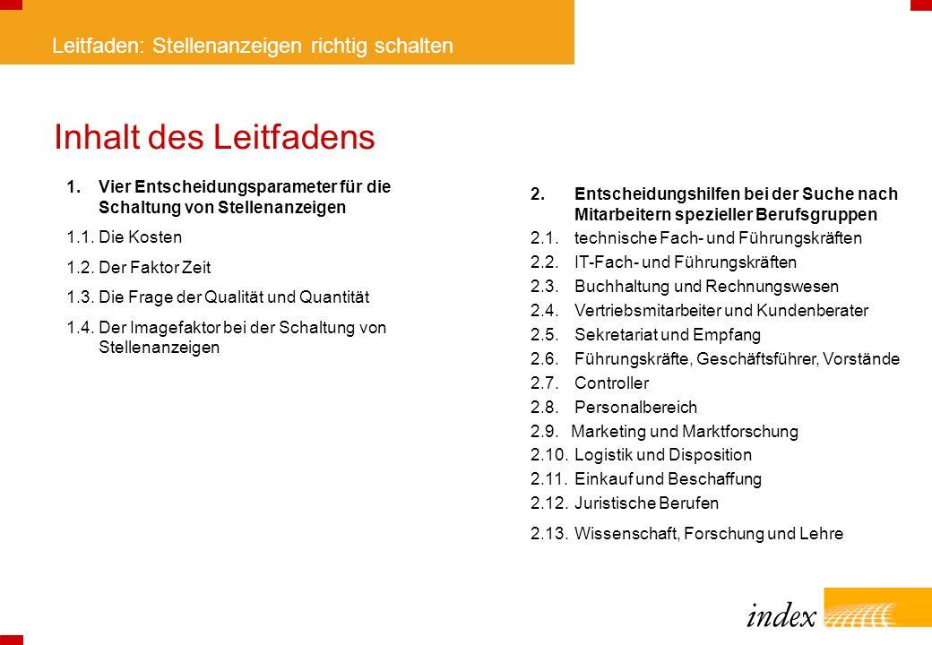 Inhalt des Leitfadens 1. Vier Entscheidungsparameter für die Schaltung von Stellenanzeigen. 1.1. Die Kosten.