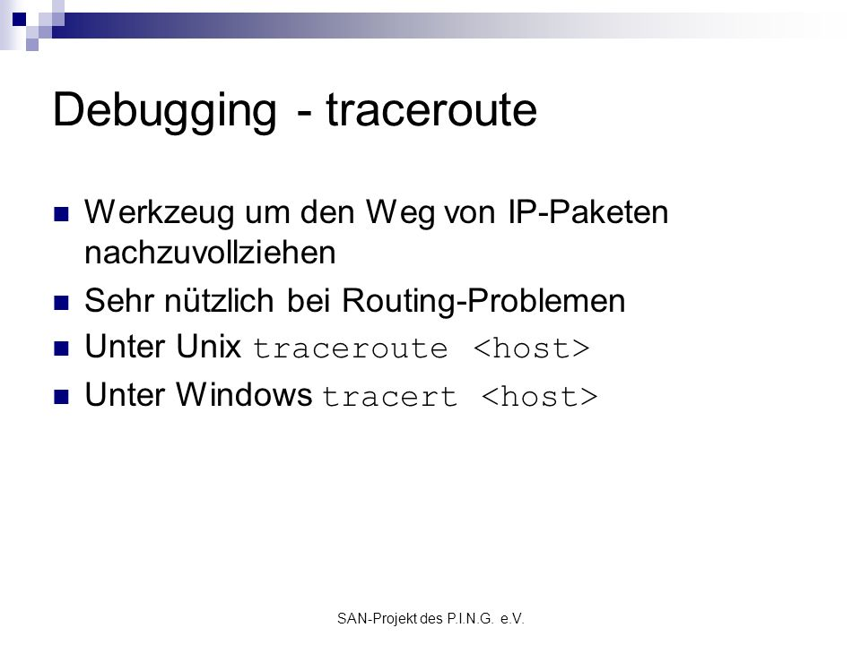 Debugging - traceroute