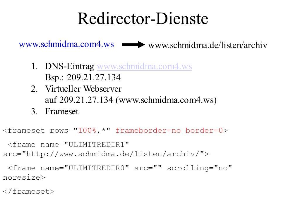 Redirector-Dienste www.schmidma.com4.ws www.schmidma.de/listen/archiv