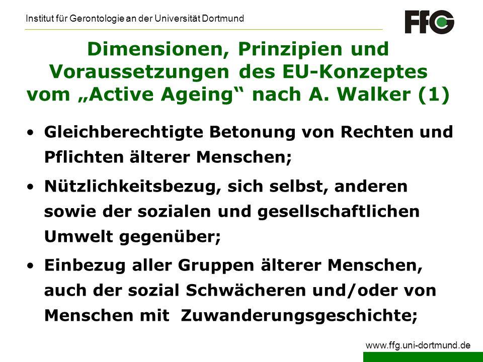 """Dimensionen, Prinzipien und Voraussetzungen des EU-Konzeptes vom """"Active Ageing nach A. Walker (1)"""