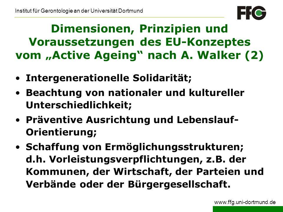 """Dimensionen, Prinzipien und Voraussetzungen des EU-Konzeptes vom """"Active Ageing nach A. Walker (2)"""
