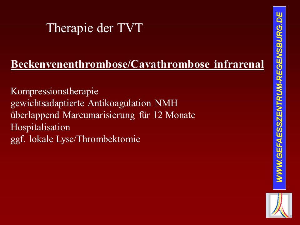 Therapie der TVT Beckenvenenthrombose/Cavathrombose infrarenal