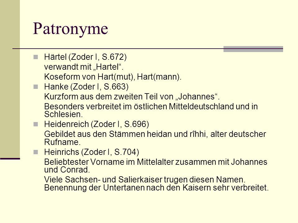 """Patronyme Härtel (Zoder I, S.672) verwandt mit """"Hartel ."""