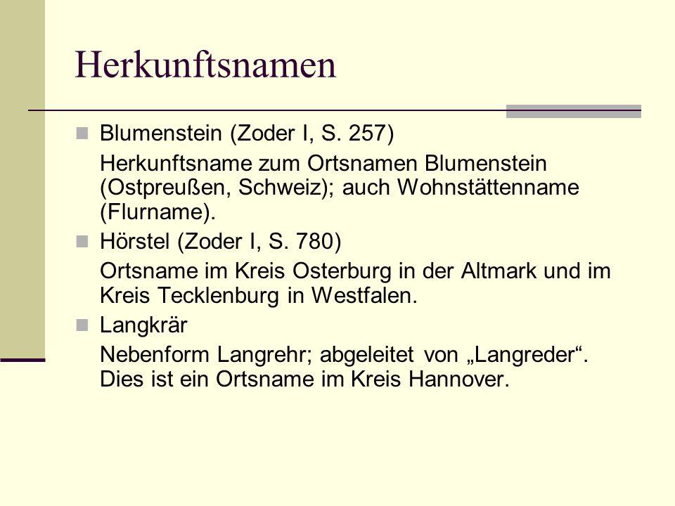 Herkunftsnamen Blumenstein (Zoder I, S. 257)