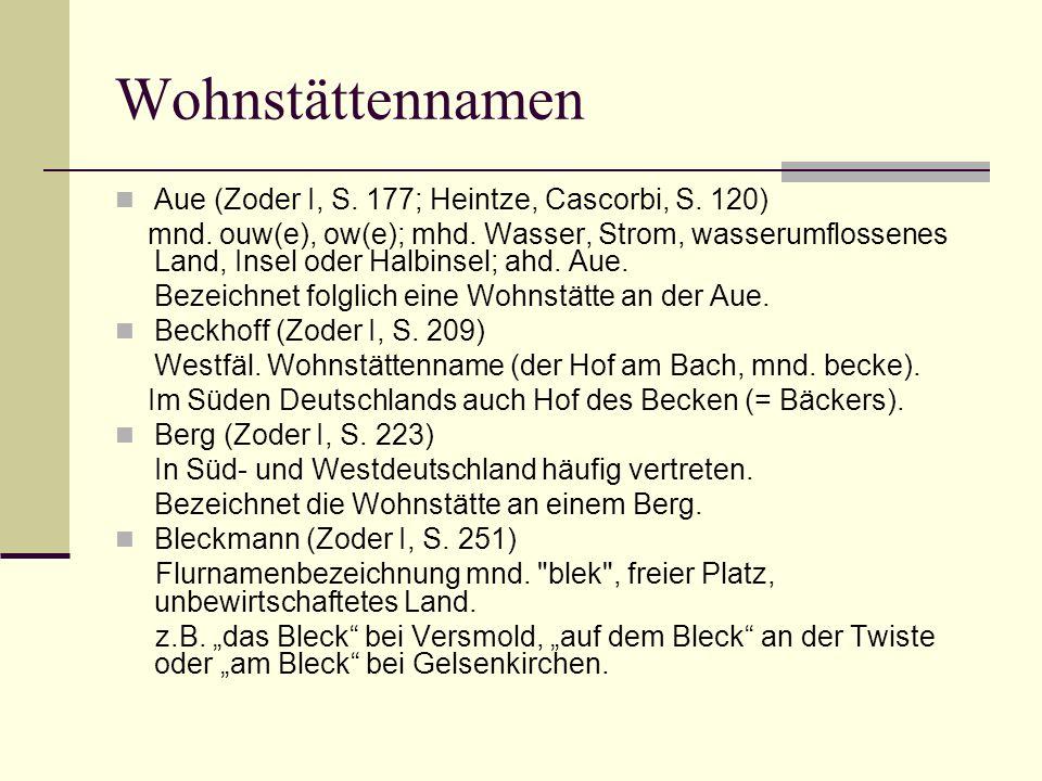 Wohnstättennamen Aue (Zoder I, S. 177; Heintze, Cascorbi, S. 120)