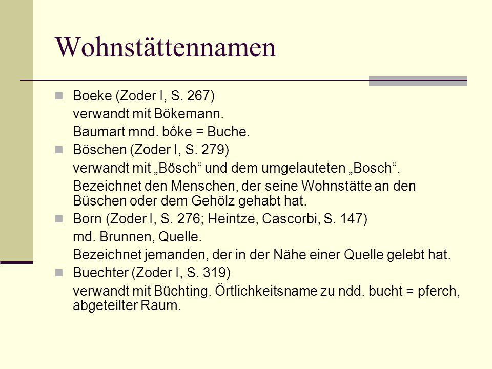 Wohnstättennamen Boeke (Zoder I, S. 267) verwandt mit Bökemann.