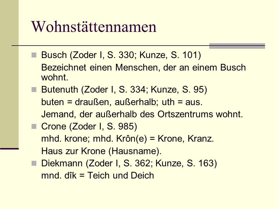 Wohnstättennamen Busch (Zoder I, S. 330; Kunze, S. 101)