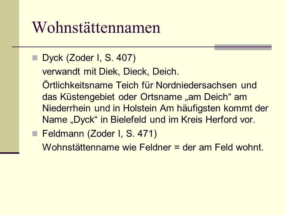 Wohnstättennamen Dyck (Zoder I, S. 407)