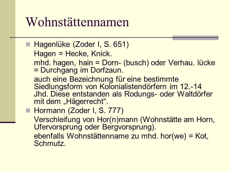 Wohnstättennamen Hagenlüke (Zoder I, S. 651) Hagen = Hecke, Knick.