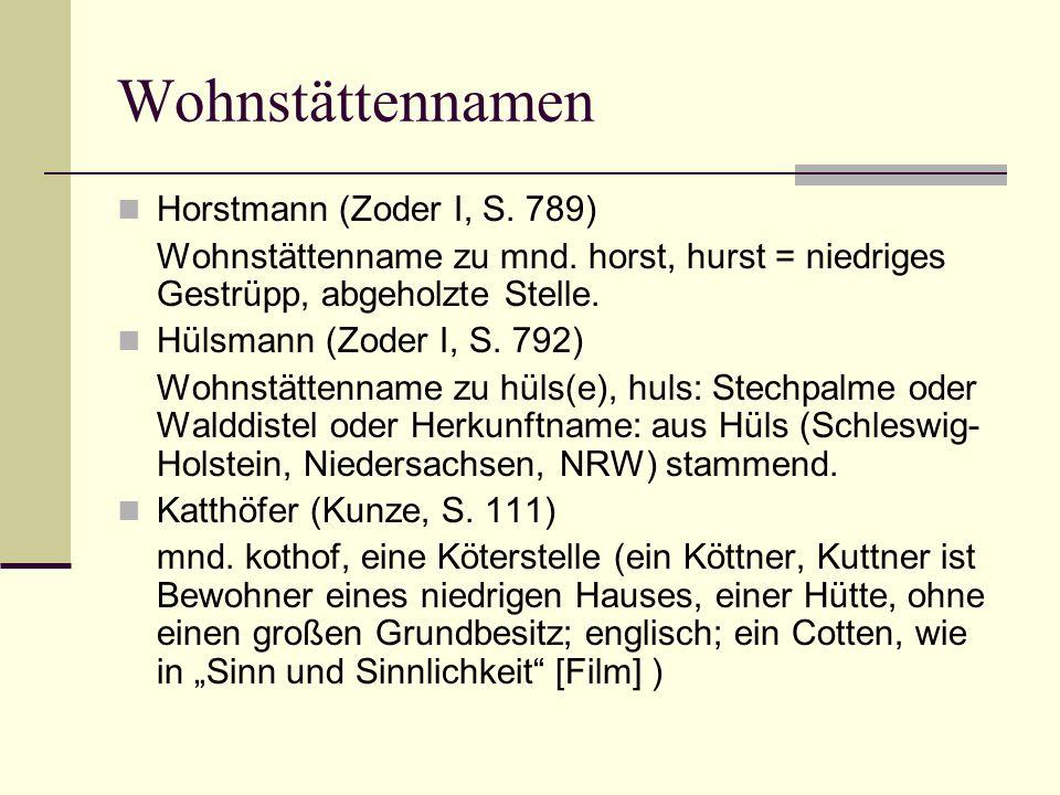 Wohnstättennamen Horstmann (Zoder I, S. 789)