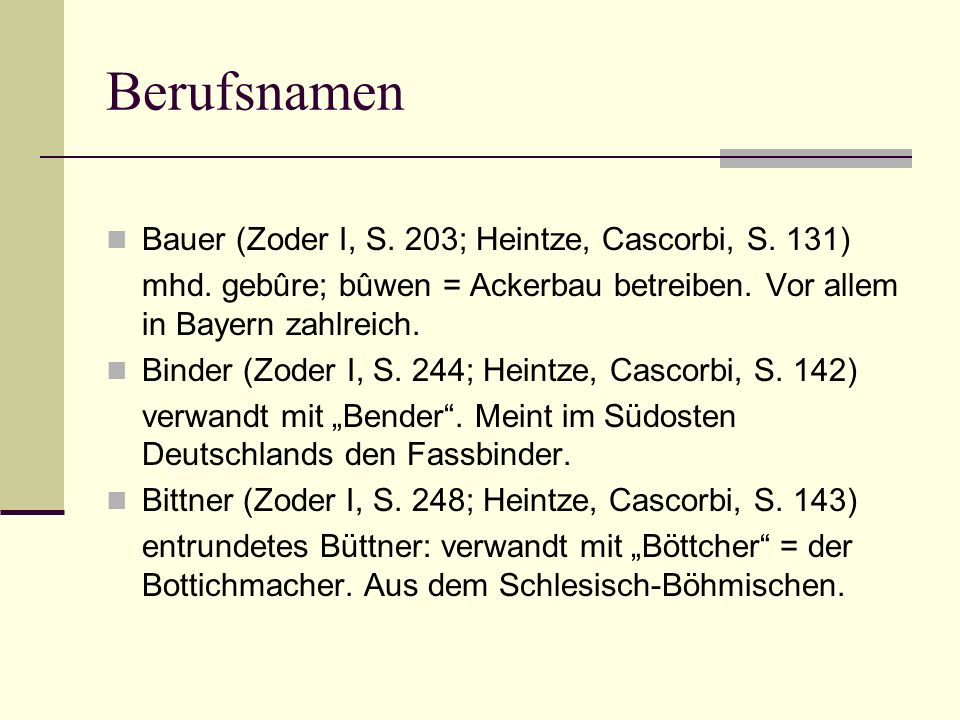 Berufsnamen Bauer (Zoder I, S. 203; Heintze, Cascorbi, S. 131)