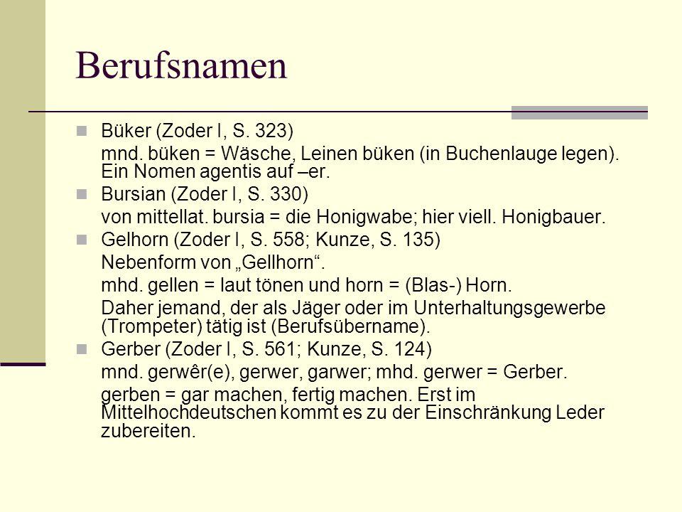 Berufsnamen Büker (Zoder I, S. 323)