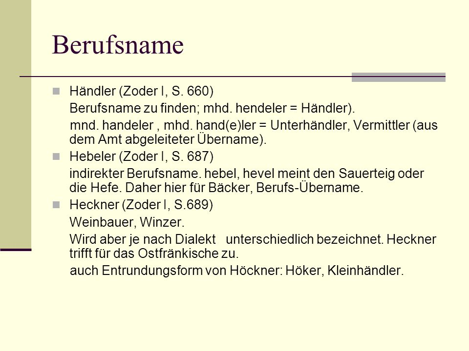Berufsname Händler (Zoder I, S. 660)