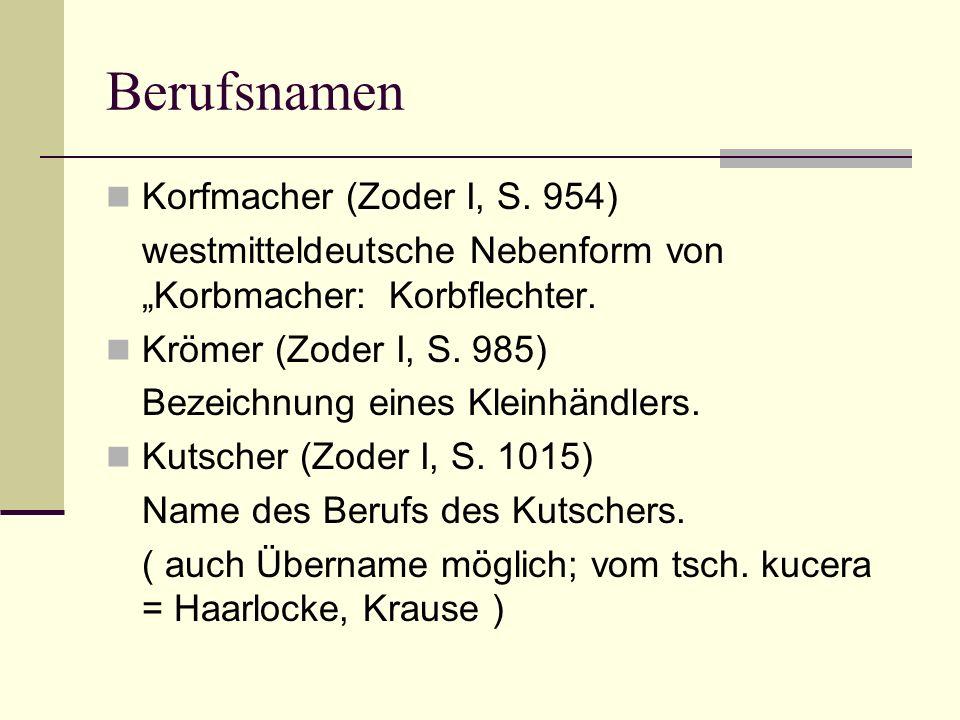 Berufsnamen Korfmacher (Zoder I, S. 954)